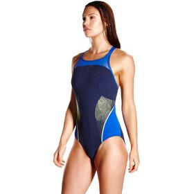 speedo Fit Splice Xback Swimsuit Women Navy/Beautiful Blue/Lime Punch